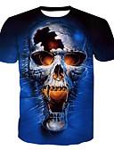 ieftine Maieu & Tricouri Bărbați-Bărbați Rotund Tricou Bumbac De Bază - Cranii Imprimeu / Manșon scurt