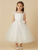 זול שמלות לילדות פרחים-נסיכה באורך הקרסול שמלה לנערת הפרחים - תחרה / סאטן / טול שרוולים קצרים סקופ צוואר עם פפיון(ים) / סרט על ידי LAN TING BRIDE®