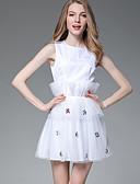 tanie Damskie spodnie-Damskie Spodnie - Solidne kolory Koronka Biały