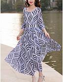 ieftine Regina Vintage-Pentru femei Mărime Plus Size Concediu / Ieșire Șic Stradă Zvelt Șifon / Swing Rochie - Imprimeu, Geometric Talie Înaltă Maxi