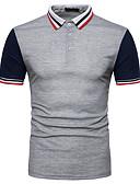 hesapli Erkek Polo Tişörtleri-Erkek Polo Kırk Yama, Çizgili Zıt Renkli Temel Sokak Şıklığı