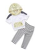 levne Sady oblečení-Toddler Dívčí Aktivní / Základní Denní / Sport Černá a Bílá Proužky Flitry / Šněrování / Tisk Krátký rukáv Standardní Standardní Bavlna / Polyester Sady oblečení Bílá