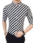 cheap Men's Shirts-Men's Work Business / Basic Cotton Slim Shirt - Striped / Color Block