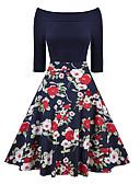 tanie Sukienki-Damskie Święto / Wyjściowe Vintage / Wyrafinowany styl Szczupła Pochwa Sukienka - Geometric Shape, Nadruk Łódeczka Do kolan