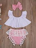 זול סטים של ביגוד לתינוקות-סט של בגדים כותנה ללא שרוולים קולור בלוק בסיסי בנות תִינוֹק / פעוטות