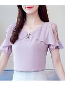 ieftine Bluză-Pentru femei În V / De Pe Umăr Bluză Ieșire Mată