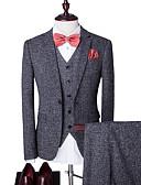 ieftine Blazer & Costume de Bărbați-Bărbați Petrecere / Zilnic Primăvara & toamnă Regular Costume, Houndstooth Rever Clasic Manșon Lung Poliester Gri Închis L / XL / XXL / Ocazional afaceri / Zvelt