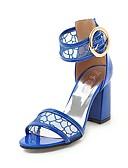 preiswerte Abendkleider-Damen Schuhe Kunstleder Sommer Pumps Sandalen Blockabsatz Offene Spitze Schnalle Schwarz / Beige / Blau / Party & Festivität