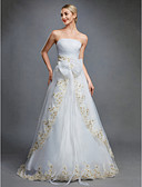 cheap Wedding Dresses-Ball Gown Strapless Floor Length Organza Made-To-Measure Wedding Dresses with Bowknot / Embroidery / Sash / Ribbon by LAN TING BRIDE®
