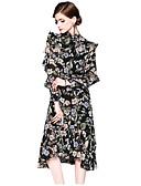 זול 2017ביקיני ובגדי ים-מידי קפלים / דפוס, גיאומטרי - שמלה נדן שרוול נפוח סגנון סיני בגדי ריקוד נשים