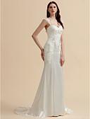 olcso Menyasszonyi ruhák-Sellő fazon Szív-alakú Udvari uszály Sztreccs szatén Made-to-measure esküvői ruhák val vel Rátétek / Gomb által LAN TING BRIDE®