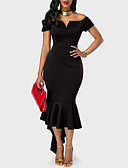 cheap Women's Dresses-Women's Party / Going out Trumpet / Mermaid Dress - Solid Colored Black, Ruffle / Off Shoulder / Summer / Slim