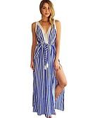 hesapli Gece Elbiseleri-Kadın's Vintage Sokak Şıklığı Kombinezon Çan Elbise - Çizgili, Dantel Oyuklu Bölünmüş Bağcık Maksi Mavi & Beyaz