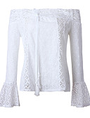 cheap Women's Blouses-Women's Basic / Street chic Blouse - Solid Colored Lace Trims