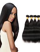 hesapli Moda Saatler-İri Dalgalı Peru Saçı Düz Virgin Saç İnsan saç örgüleri 4 Paket 8-26inç İnsan saç örgüleri Siyah