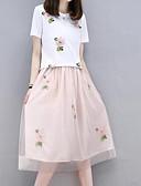 tanie Sukienki-Damskie Rozmiar plus Bawełna Moda miejska Wyjściowe / Praca Zestaw - Haftowane, Pled Spódnica / Lato / Kwiaty
