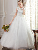 cheap Wedding Dresses-Ball Gown Jewel Neck Floor Length Lace Over Tulle Made-To-Measure Wedding Dresses with Beading / Appliques by LAN TING BRIDE®