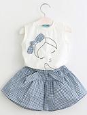 levne Sady oblečení-Toddler Dívčí Tisk Bez rukávů Polyester Sady oblečení Bílá / Roztomilý
