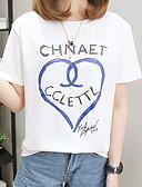 baratos Vestidos Plus Size-Mulheres Tamanhos Grandes Camiseta Sólido / Geométrica / Letra Algodão