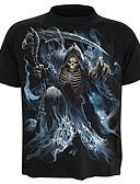 baratos Camisetas & Regatas Masculinas-Homens Tamanhos Grandes Camiseta Caveira / Exagerado Estampado, Caveiras Algodão / Manga Curta