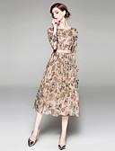 baratos Vestidos Vintage-Mulheres Feriado / Para Noite Moda de Rua / Sofisticado Evasê / balanço Vestido - Estampado, Estampado Cashemere Cintura Alta Médio