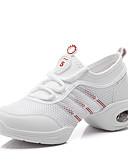 זול שעונים-בגדי ריקוד נשים נעלי ריקוד רשת סניקרס לריקוד שחבור נעלי ספורט שטוח מותאם אישית לבן / הצגה / אימון