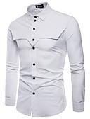 cheap Men's Shirts-Men's Party / Work Business / Boho Cotton Shirt - Color Block / Long Sleeve / Summer / Fall