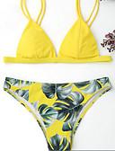 billige Bikinier og damemote 2017-Dame Vintage / Bohem Grime Gul Vin Lyseblå Trekant G-streng Bikini Badetøy - Blomstret Trykt mønster M L XL