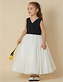 cheap Wedding Dresses-Princess Tea Length Flower Girl Dress - Chiffon Sleeveless V Neck with Criss Cross by LAN TING BRIDE®
