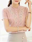 baratos Blusas Femininas-Mulheres Blusa - Para Noite Sólido Colarinho Chinês