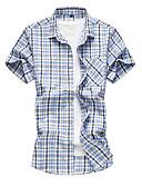 お買い得  メンズダウン&パーカー-男性用 ビーチ シャツ ベーシック チェック ブルー XXXXL / 半袖