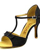 זול שמלות מיני-בגדי ריקוד נשים נעליים לטיניות / נעלי סלסה סוויד / דמוי עור סנדלים / עקבים אבזם / עניבת פרפר עקב מותאם מותאם אישית נעלי ריקוד שחור / אדום / צהוב / הצגה / מקצועי