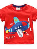 tanie Topy dla chłopców-Dzieci / Brzdąc Dla chłopców Aktywny / Podstawowy Codzienny / Sport Niebiesko-biały Patchwork Patchwork / Haft Krótki rękaw Regularny Bawełna T-shirt Czerwony 100