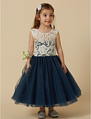 cheap Flower Girl Dresses-A-Line Knee Length Flower Girl Dress - Lace / Taffeta Sleeveless Square Neck with Bow(s) / Buttons / Sash / Ribbon by LAN TING BRIDE®