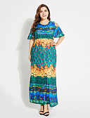 cheap Women's Dresses-TS - Sweet Curve Women's Plus Size Boho Sheath Dress - Floral High Waist Maxi