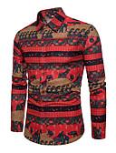 tanie Męskie koszulki polo-Puszysta Koszula Męskie Aktywny / Podstawowy Bawełna Szczupła - Geometric Shape / Długi rękaw