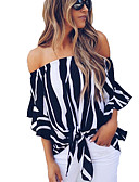 cheap Women's Blouses-Women's Holiday / Going out Street chic / Punk & Gothic Blouse - Striped Strap / Boat Neck