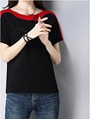 tanie Bluzka-T-shirt Damskie Vintage / Podstawowy, Patchwork Bawełna Luźna - Kolorowy blok / Lato