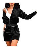baratos Conjuntos Femininos-Mulheres Básico Blusa Sólido Saia