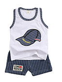 billige Sett med Gutter babyklær-Baby Gutt Aktiv Daglig Lapper Trykt mønster Ermeløs Normal Bomull / Polyester Tøysett Blå