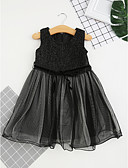 cheap Girls' Dresses-Girl's Floral Dress, Cotton Spring Summer All Seasons Short Sleeves Floral Lace Black