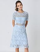 preiswerte Brautmutter Kleider-Damen Retro / Anspruchsvoll A-Linie Kleid - Spitze / Ausgehöhlt / Gespleisst, Solide / Geometrisch / Verziert Midi