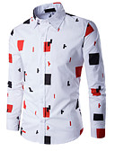 tanie Męskie koszule-Puszysta Koszula Męskie Aktywny / Podstawowy Bawełna Szczupła - Geometric Shape / Kolorowy blok / Długi rękaw
