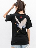 tanie Damskie spodnie-T-shirt Damskie Podstawowy / Wzornictwo chińskie, Haft Bawełna Luźna - Solidne kolory / Zwierzę Dźwig / Lato