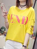 abordables Camisas para Mujer-Mujer Tallas Grandes Algodón Camiseta Un Color / Letra