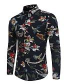 tanie Męskie koszule-Koszula Męskie Nadruk Bawełna Plaża Szczupła - Kwiaty / Kolorowy blok / Zwierzę / Długi rękaw