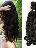 tanie Kwarcowy-4 zestawy Włosy brazylijskie Luźne fale Włosy virgin Fale w naturalnym kolorze 8-28 in Natura Czarny Ludzkie włosy wyplata Wygodne / Gruby koniec włosów / Podwójna osnowa Ludzkich włosów
