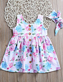 Χαμηλού Κόστους Βρεφικά φορέματα-Νήπιο Κοριτσίστικα Βασικό / Μπόχο Καθημερινά / Εξόδου Φλοράλ Φιόγκος / Στάμπα Αμάνικο Ως το Γόνατο Πολυεστέρας / Νάιλον / Spandex Φόρεμα Ανοικτό μπλε