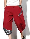 tanie Męskie spodnie i szorty-Męskie Prosty / Wzornictwo chińskie Len Haremki / Typu Chino Spodnie Kolorowy blok