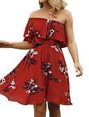 tanie Sukienki-Damskie Prosty / Boho Szczupła Spodnie - Geometric Shape Nadruk Czerwony / Łódeczka / Święto / Plaża